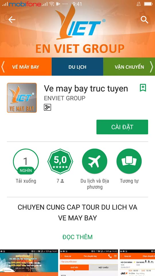 Tải app đặt vé